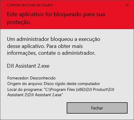 DJI Assistant 2: Este aplicativo foi bloqueado para sua segurança