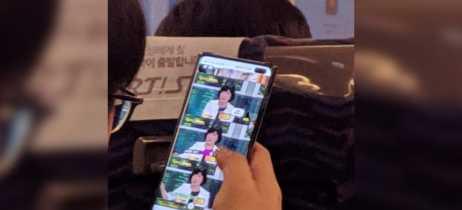 Galaxy S10+ aparece em foto não oficial com câmera frontal dupla na tela