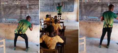 Professor da África que ensina informática sem computadores receberá apoio da Microsoft