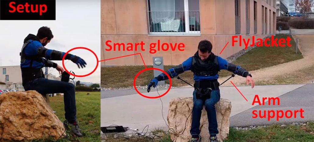 Flyjacket é um exoesqueleto que permite controlar drones com movimentos corporais