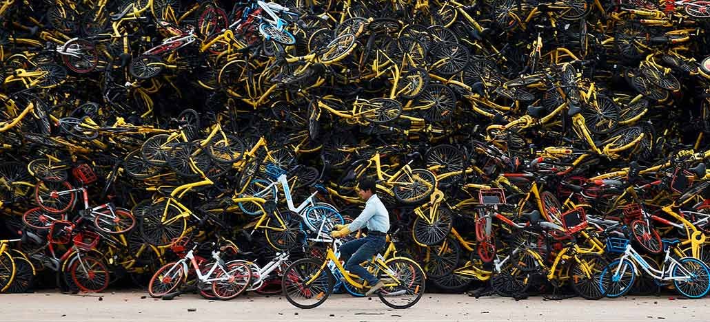 O problema da China com as bicicletas compartilhadas